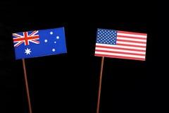 Αυστραλιανή σημαία με την ΑΜΕΡΙΚΑΝΙΚΗ σημαία που απομονώνεται στο Μαύρο Στοκ Εικόνες