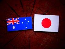 Αυστραλιανή σημαία με την ιαπωνική σημαία σε ένα κολόβωμα δέντρων που απομονώνεται Στοκ φωτογραφίες με δικαίωμα ελεύθερης χρήσης