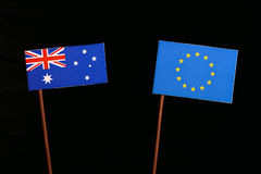 Αυστραλιανή σημαία με τη σημαία της ΕΕ της Ευρωπαϊκής Ένωσης που απομονώνεται στο Μαύρο Στοκ φωτογραφία με δικαίωμα ελεύθερης χρήσης