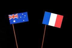 Αυστραλιανή σημαία τη γαλλική σημαία που απομονώνεται με στο Μαύρο Στοκ Εικόνα