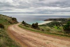 Αυστραλιανός βρώμικος δρόμος στο νησί καγκουρό Στοκ Φωτογραφία