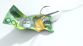 Αυστραλιανός δελεασμένος τραπεζογραμμάτιο γάντζος δολαρίων στοκ φωτογραφία με δικαίωμα ελεύθερης χρήσης