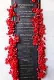 Αυστραλιανός πολεμικός ρόλος του πολεμικού αναμνηστικός Αφγανιστάν της τιμής Στοκ Φωτογραφίες