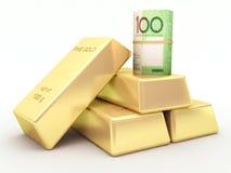 Αυστραλιανός ρόλος τραπεζογραμματίων δολαρίων και χρυσοί φραγμοί Στοκ εικόνες με δικαίωμα ελεύθερης χρήσης