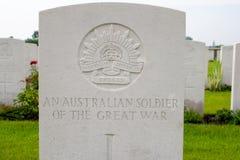 Αυστραλιανός στρατιώτης του μεγάλου παγκόσμιου πολέμου ένας Στοκ Φωτογραφίες