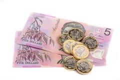 Αυστραλιανό και βρετανικό νόμισμα Στοκ εικόνα με δικαίωμα ελεύθερης χρήσης