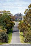 Αυστραλιανό οδικό τοπίο με τα δέντρα, έναν φυσικό μπλε ουρανό και όμορφα χρώματα σε Βικτώρια, Αυστραλία Στοκ Εικόνες