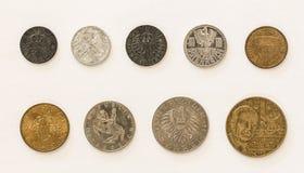Αυστριακά νομίσματα 1-2-5-10-20-50 Groschen/σελίνι Στοκ Εικόνες
