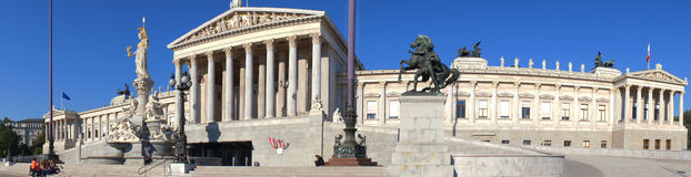 Αυστριακό κτήριο του Κοινοβουλίου, Βιέννη, Αυστρία Στοκ φωτογραφία με δικαίωμα ελεύθερης χρήσης