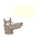 αυτάρεσκο πρόσωπο λύκων κινούμενων σχεδίων με τη λεκτική φυσαλίδα Στοκ Εικόνες