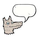 αυτάρεσκο πρόσωπο λύκων κινούμενων σχεδίων με τη λεκτική φυσαλίδα Στοκ Φωτογραφίες