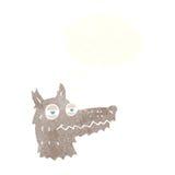 αυτάρεσκο πρόσωπο λύκων κινούμενων σχεδίων με τη σκεπτόμενη φυσαλίδα Στοκ εικόνες με δικαίωμα ελεύθερης χρήσης