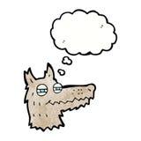 αυτάρεσκο πρόσωπο λύκων κινούμενων σχεδίων με τη σκεπτόμενη φυσαλίδα Στοκ Εικόνες