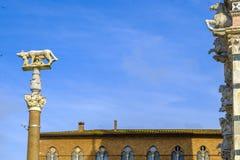 Αυτή-λύκος με Romulus και Remus μπροστά από το Duomo της Σιένα Στοκ Φωτογραφία