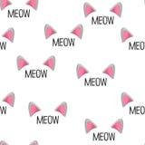 Αυτιά γατών επίσης corel σύρετε το διάνυσμα απεικόνισης πρότυπο άνευ ραφής Meow λέξεις Στοκ φωτογραφία με δικαίωμα ελεύθερης χρήσης