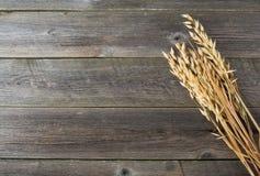Αυτιά της βρώμης στο παλαιό ξύλινο υπόβαθρο Στοκ φωτογραφία με δικαίωμα ελεύθερης χρήσης
