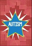 Αυτισμός κειμένων γραψίματος λέξης Επιχειρησιακή έννοια για τη δυσκολία με την αλληλεπίδραση και διαμόρφωση των υποθέσεων με άλλη διανυσματική απεικόνιση