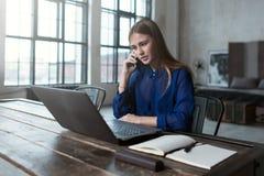 Αυτοαπασχολούμενη γυναίκα που έχει μια τηλεφωνική συνομιλία χρησιμοποιώντας έναν υπολογιστή στο σπίτι στοκ εικόνες με δικαίωμα ελεύθερης χρήσης