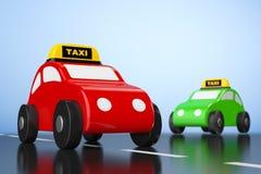 Αυτοκίνητα παιχνιδιών κινούμενων σχεδίων με το σημάδι ταξί Στοκ Εικόνες