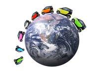 αυτοκίνητα πολλά επίσης κόσμος διανυσματική απεικόνιση