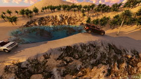 Αυτοκίνητα που συναγωνίζονται πέρα από το δρόμο μεταξύ των δέντρων και του βουνού στην ανατολή απόθεμα βίντεο