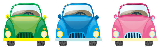 Αυτοκίνητα σε τρία διαφορετικά χρώματα απεικόνιση αποθεμάτων