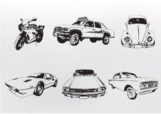Αυτοκίνητα σκιαγραφιών. Στοκ Εικόνα
