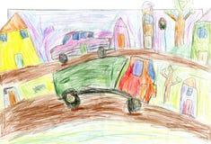 Αυτοκίνητα στην πόλη, χρωματισμένη χέρι εικόνα των παιδιών, σχέδιο μολυβιών Στοκ φωτογραφία με δικαίωμα ελεύθερης χρήσης