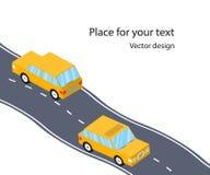 Αυτοκίνητα στο δρόμο, η εθνική οδός, επίπεδο τρισδιάστατο Isometric ύφος Οικογενειακό ταξίδι Διανυσματική απεικόνιση με το διάστη απεικόνιση αποθεμάτων