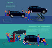 Αυτοκίνητα συντήρησης και επισκευής διανυσματική απεικόνιση