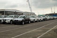 Αυτοκίνητα της BMW στις αποβάθρες Southampton Στοκ φωτογραφία με δικαίωμα ελεύθερης χρήσης