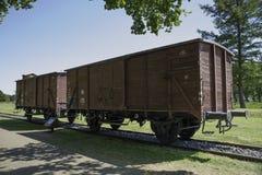 Αυτοκίνητα τραίνων φορτίου στο στρατόπεδο διέλευσης Westerbork Στοκ Φωτογραφία