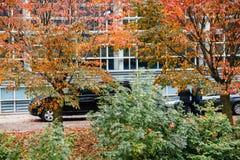 Αυτοκίνητα Black van κυβέρνησης στο Ευρωπαϊκό Κοινοβούλιο κατά τη διάρκεια του γαλλικού Π Στοκ Εικόνα