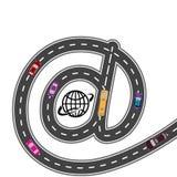 Αυτοκίνητος εξοπλισμός Με τον πλοηγό Διαδικτύου - η πορεία είναι κοντύτερη Χιουμοριστικός, εικόνα απεικόνιση Στοκ Φωτογραφία