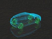 Αυτοκίνητο έννοιας ακτίνας X με τις πράσινες ρόδες απεικόνιση αποθεμάτων