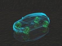 Αυτοκίνητο έννοιας ακτίνας X με τις πράσινες ρόδες διανυσματική απεικόνιση