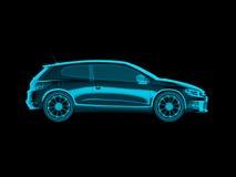Αυτοκίνητο έννοιας ακτίνας X στο απομονωμένο μαύρο υπόβαθρο, πλάγια όψη απεικόνιση αποθεμάτων