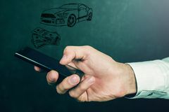Αυτοκίνητο έννοιας χρημάτων και επιχειρήσεων Στοκ εικόνες με δικαίωμα ελεύθερης χρήσης
