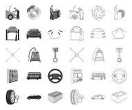 Αυτοκίνητο, ανελκυστήρας, αντλία και άλλος εξοπλισμός μονο, εικονίδια περιλήψεων στην καθορισμένη συλλογή για το σχέδιο Διάνυσμα  απεικόνιση αποθεμάτων