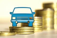 Αυτοκίνητο και κόκκινο σημάδι τοις εκατό σε ένα υπόβαθρο των χρημάτων Στοκ Φωτογραφία