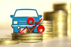 Αυτοκίνητο και κόκκινο σημάδι τοις εκατό σε ένα υπόβαθρο των χρημάτων Στοκ εικόνες με δικαίωμα ελεύθερης χρήσης