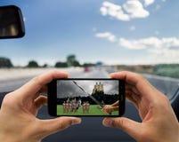 Αυτοκίνητο και μεσαιωνική ταινία Στοκ φωτογραφία με δικαίωμα ελεύθερης χρήσης
