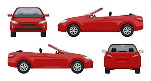 Αυτοκίνητο καμπριολέ Πολυτέλειας επιχειρησιακό αμάξι αθλητικών αυτοκινήτων οχημάτων έξοχο στις οδικές διανυσματικές ρεαλιστικές ε απεικόνιση αποθεμάτων
