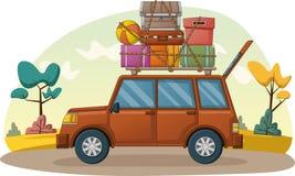 Αυτοκίνητο κινούμενων σχεδίων με τις βαλίτσες στη στέγη αυτοκινήτων Αυτοκίνητο με τις περιπτώσεις ταξιδιού διανυσματική απεικόνιση