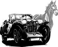 Αυτοκίνητο με τη γαμήλια πρόσκληση αλόγων Εκλεκτής ποιότητας στοιχεία σχεδίου διανυσματική απεικόνιση
