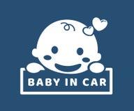 αυτοκίνητο μωρών sticker Λέξη απεικόνιση αποθεμάτων