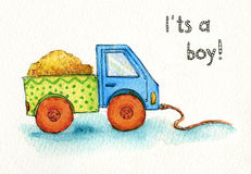Αυτοκίνητο παιχνιδιών φορτηγών για το watercolor αγοριών Στοκ Φωτογραφία
