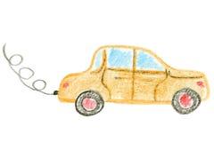 Αυτοκίνητο που απομονώνεται σε ένα άσπρο υπόβαθρο, χρωματισμένη χέρι εικόνα των παιδιών, σχέδιο μολυβιών Στοκ Φωτογραφίες