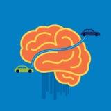 Αυτοκίνητο που διασχίζει τον εγκέφαλο - απεικόνιση στο μπλε υπόβαθρο Στοκ Φωτογραφία