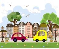 Αυτοκίνητο που περνά από στην αφηρημένη πόλη Στοκ εικόνα με δικαίωμα ελεύθερης χρήσης